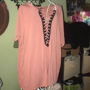 Pretty pink and black lace up top